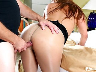 Gorgeous babe gives him an surprising blowjob