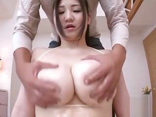 Chap-fallen Japanese Wench Uses Her Large Tits To Have Some Joy