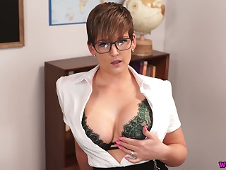 Busty teacher Hannah Brooks gives a blowjob increased by gets facial in hot pov scene