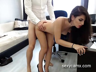 Horny copier with hot slim body swell up plus fuck her boss