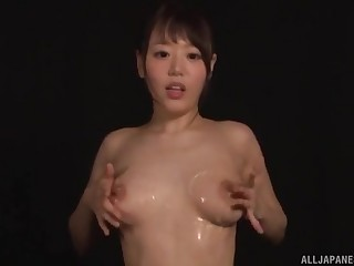 Shy Asian girl Hamasaki Mao plays with her uncompromised tits