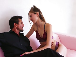 Alluring tot to lacy lingerie Haley Reed treats dude with BJ and lap dance