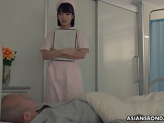 Japanese nurse enjoying some steamy gangbang sex with her perverted patients