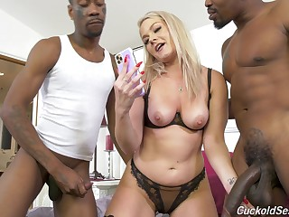 Slutty blonde fit together decides to go black in style