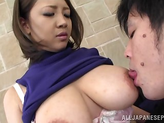 Obese tits Asian sweater inclusive Conomi takes a dick in her mouth
