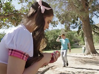 Coxcomb picks involving poisonous pigtailed teen in short skirt Lucy Doll and fucks her tight pussy