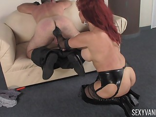 Yummy mommy Sexy Vanessa tortures her slave and sits on his face