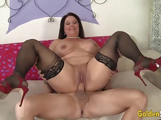 Hot and horny old woman Leylani Wood  bouncing surpassing stiff and thick dicks close by cowgirl