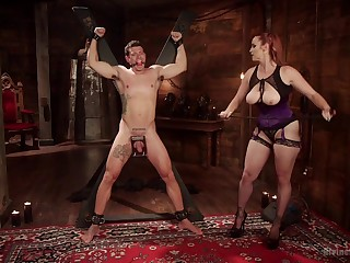 Mature slut Bella Rossi tortures her male slave and rides his weasel words