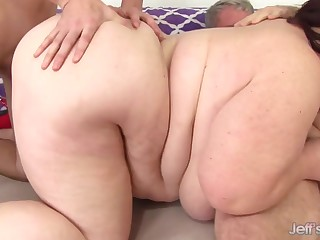 super sized BBW with chunky ass takes 2 dicks in amateur triumvirate with cumshots