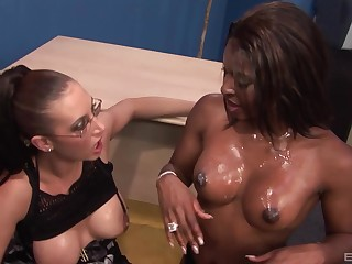 Ebony whore shares dick with busty MILF then goes wild going to bed