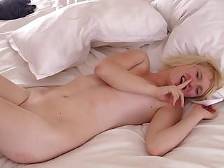 Blonde girlfriend Lila gives a blowjob to get a dick hard be proper of sex