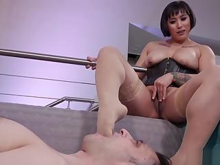 Hairy Asian dom anal fucks slave