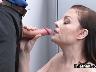 MILF ends up sucking bushwa after strip search