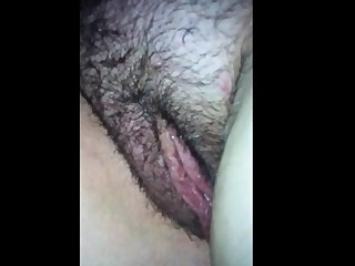 Fingering and shacking up her fat hairy pussy