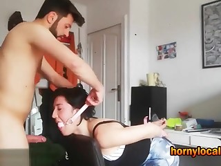 Fucking His Submissive Slave Girlfriend Hard with Homemade