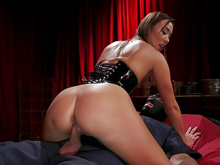 Asian popsy Christy Love dominates a slave and explosion sporadically fucks him on top