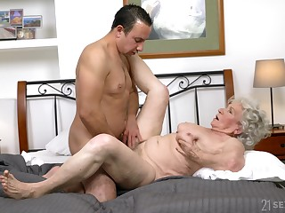 Granny gets the dick in both holes and loves the jizz on high face