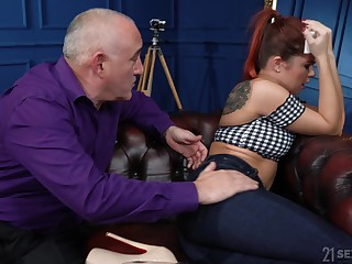 Pernicious young wife Renata Fox is fucked by old husband