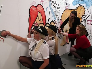 Naughty police officers Amber Jayne and Amber West drag inflate dicks