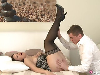 Smooth fucking on the bed approximately Corazon Del Angel in stockings