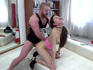 Bitch with mentally retarded booty Anya Krey gives a proper blowjob and takes cock in anus