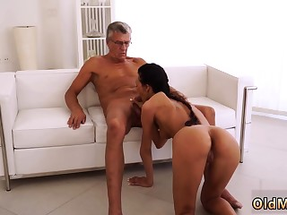 Brunette, Daddy, Dad, First time, Hardcore, Old, Small tits