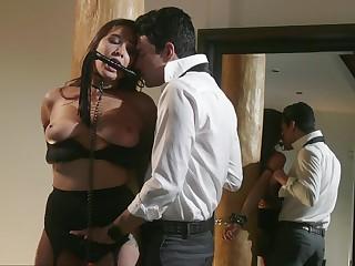 Obedient brunette respecting black lingerie, serious BDSM home sex