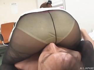 POV video of Japanese secretary pleasuring his dick in the office