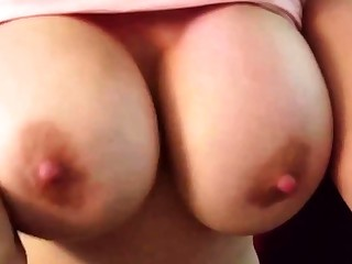 MILF with HUGE fake tits tries on bras added to gags on my cock