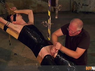 Padre plays almost twink's cock in merciless BDSM
