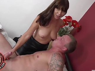 Nice fucking on the bed with natural tits full-grown mommy Sara