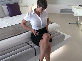 Sexy secretary muddied apparel fantasy