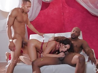 Interracial MMF trio with Adriana Chechik getting double penetrated