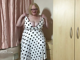 Mature Sally in her new polka dot dress